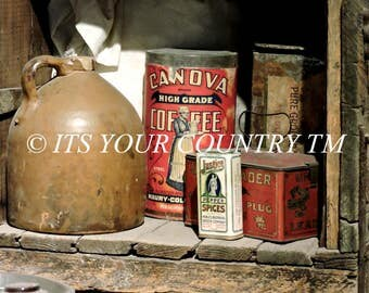 Primitive Pantry Photography, Antique Wood Shelf Still Life Digital Download,Old Jug Coffee Tin Spice Country Farmhouse Image itsyourcountry