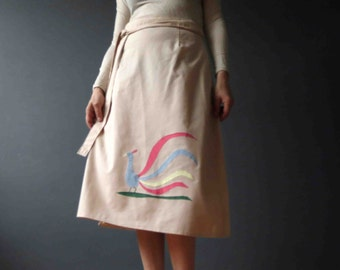 70s Applique Wrap Skirt Peacock Midi Skirt Medium Large