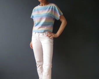 Vintage 80s Lifesavers Pastel Stripe Cotton Top Small Handmade
