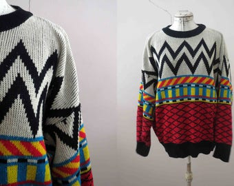 80s Geometric Color Block Tribal Slouchy Jumper Sweater Acrylic Vegan Large