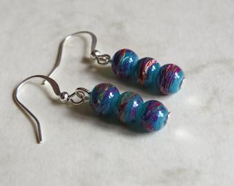 pretty green, purple and orange drawbench glass bead silver plated hook earrings