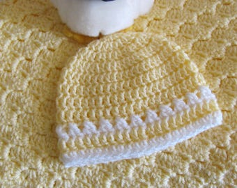 "Yellow Baby Afghan Free Matching Hat Hand Crocheted ""I Love This Yarn"" Super Soft Stroller/Car Seat/Baby Shower/ Christening/Baptism Blanket"