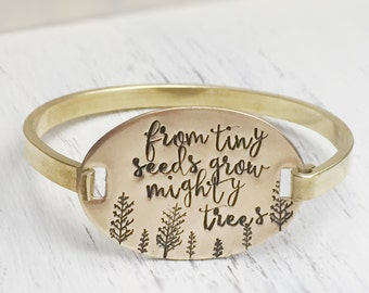 Gold Cuff Bangle Bracelet Brass Teachers Gift From Tiny Seeds Quote Tree Mighty Trees End of Year Gift Teacher
