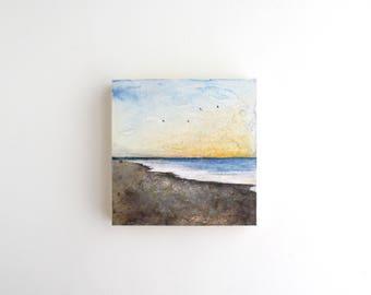 Beach Mixed Media Painting - 4 x 4