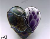RESERVED - PURPLE HEART Glass Bead Lampwork Pendant Heart Focal Handmade Jewelry Supplies - by Stephanie Gough sra fhfteam leteam