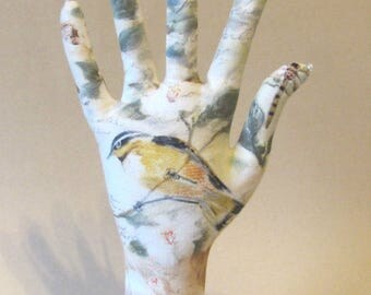 Warbler Birds Fabric Hand Jewelry Display POPULAR Style HAND-Stand