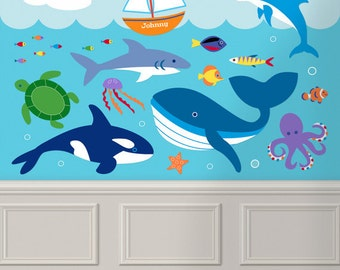 Kids Ocean Animals Peel and Stick Jumbo Wall Mural, Personalized Ocean Wall Decal, Aquatic Wall Decal