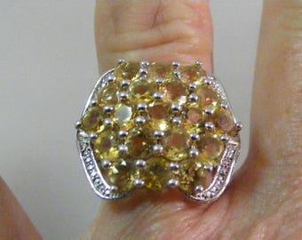 Vintage Golden Citrine Multi Stone Ring in Sterling Silver..... Lot 5286
