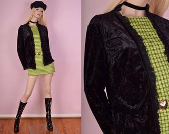 90s Black Crushed Velvet Cardigan/ Large/ 1990s
