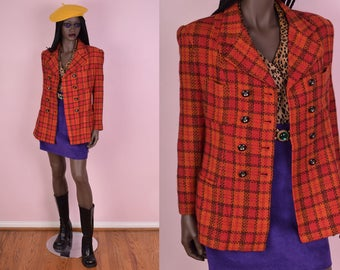 90s Orange Plaid Blazer/ Small/ 1990s/ Jacket/ Double Breasted/ Coat