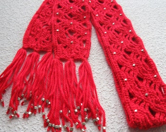 Red Beaded Scarf. Crochet scarf with silver color beads for women. Long scarves
