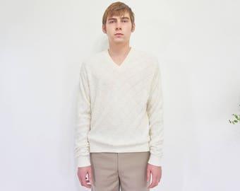 80s Ivory Sheer Burn Out Sweater / V-Neck