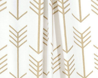 White and Athena Gold Arrow Curtains  Rod Pocket  63 72 84 90 96 108 or 120 Long by 24 or 50 Wide