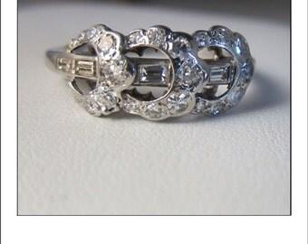 Antique 14k Horseshoe Baguette Diamond Cluster Ring band
