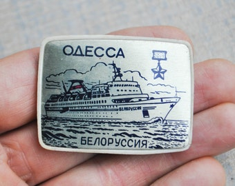 "Vintage aluminum badge,pin.""ship-Belorussia""."