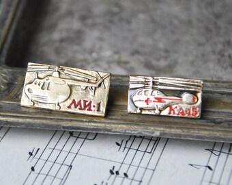 "Vintage Soviet Russian badges,pins.""Soviet Russian Helicopter KA-15/MI-1"""