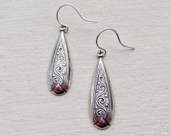 Antique Silver Earrings/Boho Earrings/Dangle Earrings/Etched Earrings/Bohemian Earrings/Dainty Earrings/Gifts For Her/Drop Earrings