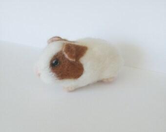 Guinea pig needle felted sculpture