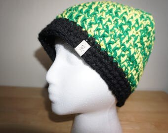 Green and Yellow, Crocheted Beanie