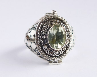 Green Amethyst Size 6, 8, 9 Poison Ring Locket Sterling Silver JD33 8mm x 6mm Stone