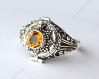 Golden Citrine Size 8.5 or 9 Amethyst GemStone Poison Ring Locket Secret Holder JD107