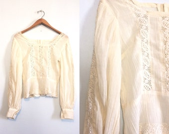 Vintage 60s 70s Cream Gauze Hippie Shirt / Ivory Sheer Crochet Boho Top / Peasant Blouse / Small Medium
