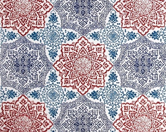 Two 20 x 20  Custom  Decorative Pillow Covers for Indoor/Outdoor  Geometric Tile Red Blue