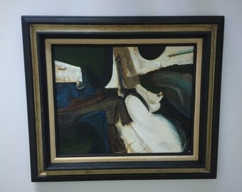 1970's Abstract Painting Black Frame