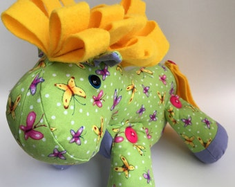 Green and yellow horse fabric stuffed toy