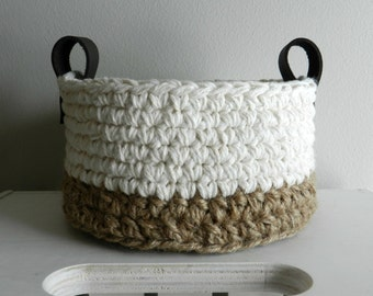 Jute and Cotton Crocheted Basket (made to order)