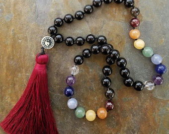 Chakra Pocket Mala, Meditation Beads, Pagan Prayer Beads, Chakra Prayer Strand, Chakra Mala Beads, Reiki Beads, Mala Beads