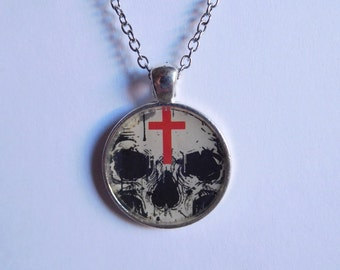 Skull and cross 1 inch resin pendant necklace; goth necklace; skeleton necklace;