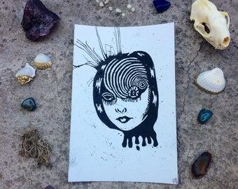 Junji Ito Ouzumaki Inspired Print; Deep Spiral Dark Universe Linocut Print (4)