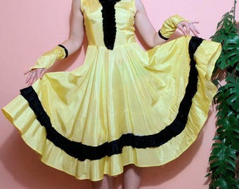 1950s Lemon Yellow Dress Saloon Girl Costume Piece Medium