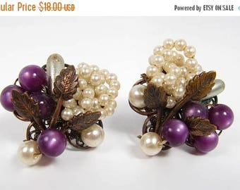 Spring Cleaning SALE Antique Screw Back Pearls & Purple Glass Grape Cluster Wire Beaded Earrings