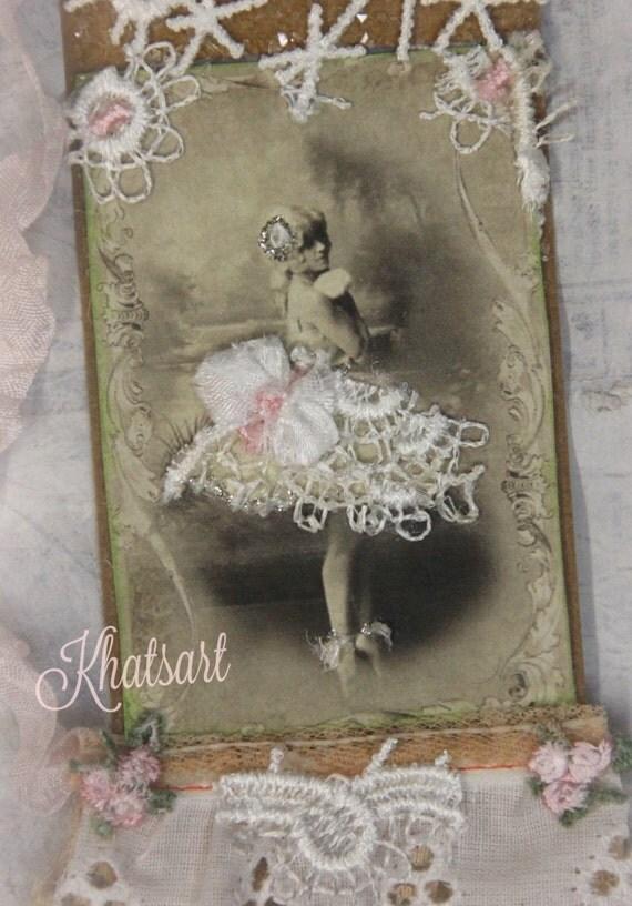 Ballerina Gift Tag, French Ballerina  Handmade Tag, Embellished Gift Tag, Shabby Tag , Mixed Media Art Tags,