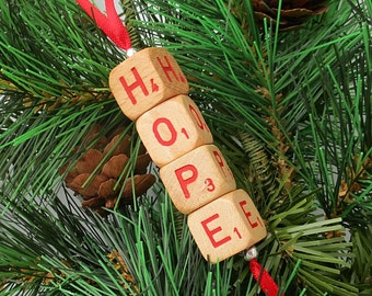 HOPE Christmas Ornament - Scrabble RSVP Cube Ornament, Stocking Stuffer, Package Tie-On, Co-Worker Gift