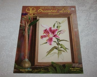 Cross Stitch Instructions Oriental Lily Stargazer Lily Flower Floral Designed by Janet Powers