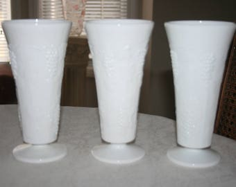 Vintage Set of Three 3 White Milk Glass Vases Embossed Grapes and Leaves Pattern Cottage Romantic Chic
