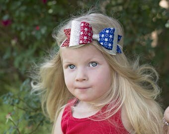 4th of July Hair Bow,Red White Blue,Silver Star Headband, Headband or Hair Clip,Glitter Hair Bow,Baby Headband,Toddler Girls Hair Bow