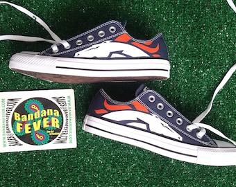 Custom Broncos Converse Shoes Low Navy, FREE SHIPPING, #Broncos, #football, #sports, #converseallstar, #broncoscountry, by Bandana Fever