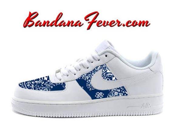 new concept 0dab1 96e42 high-quality Custom Navy Bandana Nike Air Force 1 Shoes White Low FREE