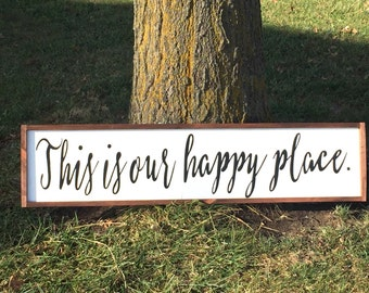 This Is Our Happy Place Sign, Hand Painted Wall Art, Happy Place Sign, This Is Our Happy Place, Happy Place