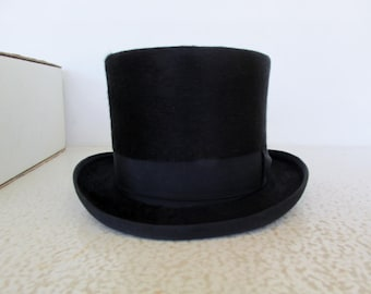 1990s Top Hat Beaver Fur Black Victorian Style with Trolley Wind String Mad Hatter Wedding Formal