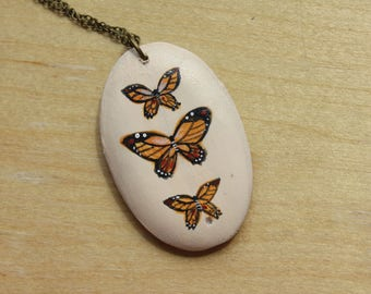 Monarch Necklace - Oval hand painted illustration pendant
