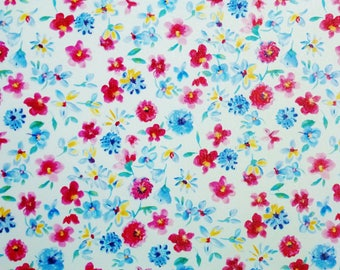 """Leather 8""""x10"""" Tiny RED and Blue Flower Garden on White Cowhide 2-2.5 oz / 0.8-1 mm PeggySueAlso™ E1090-03"""