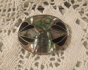Vintage / Sterling Silver and Mother of Pearl  Brooch / Pin / Pendant / Cloisonné