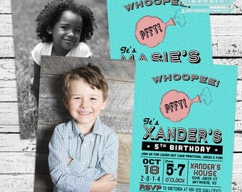 Retro Practical Joke, Gag or April Fool's Birthday Party Photo Invitation + Thank You Note