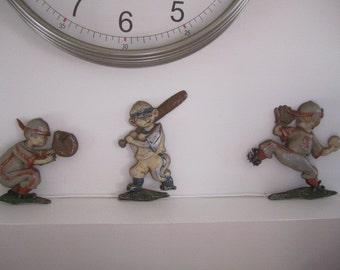 Set of Three Vintage Aluminum Baseball Players. Nursery Play Room Sports Decor. Chippy Shabby Wall Hanging Baseball Players