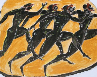 Watercolor painting inspired by a Greek amphora depicting A Footrace